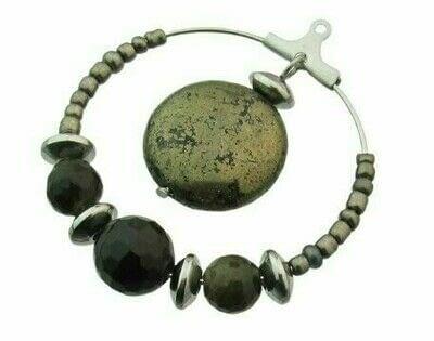 How to make a hoop earring. Pyrite & Black Obsidian Hoop Earrings - Step 7