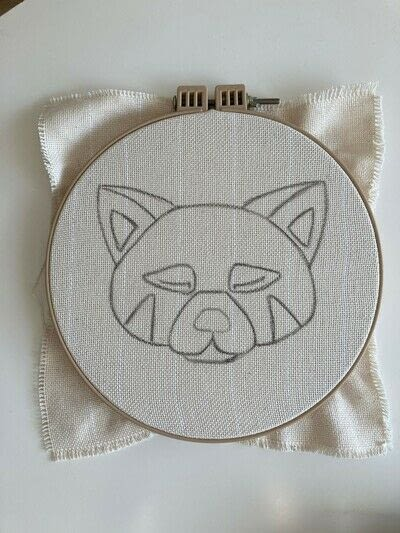 How to make a piece of textile art. Punch Needle Red Panda - Step 1