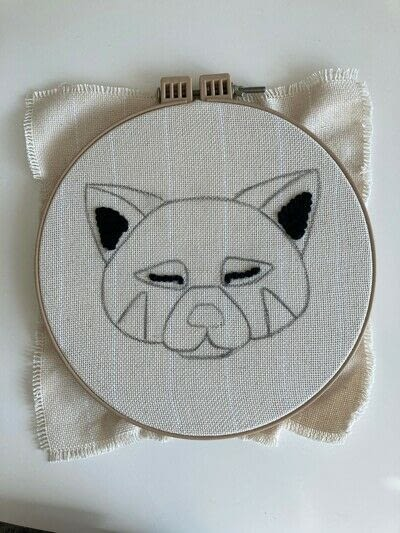 How to make a piece of textile art. Punch Needle Red Panda - Step 2