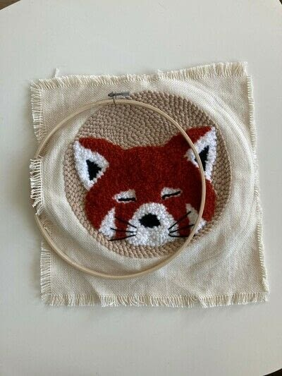 How to make a piece of textile art. Punch Needle Red Panda - Step 13