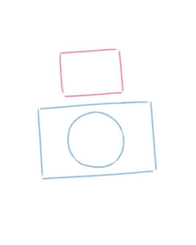 How to create a drawing or painting. Cute Kawaii Camera - Step 3