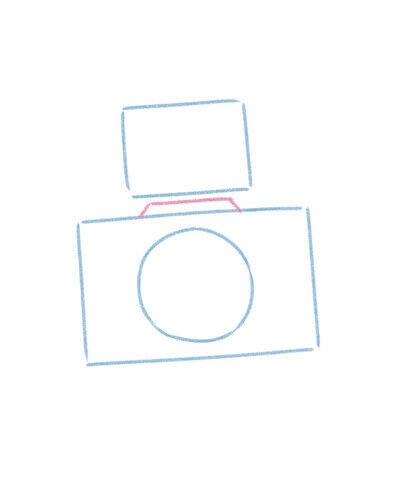 How to create a drawing or painting. Cute Kawaii Camera - Step 4