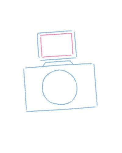 How to create a drawing or painting. Cute Kawaii Camera - Step 5