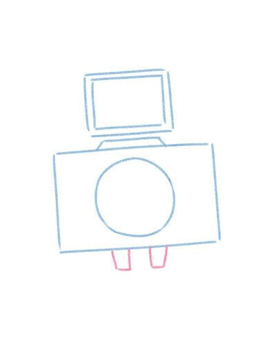 How to create a drawing or painting. Cute Kawaii Camera - Step 6