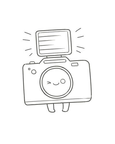 How to create a drawing or painting. Cute Kawaii Camera - Step 7