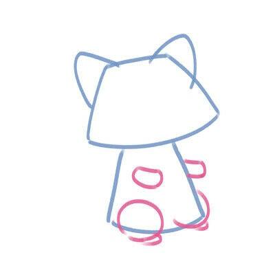 How to create a drawing or painting. Cute Kawaii Raccoon - Step 4