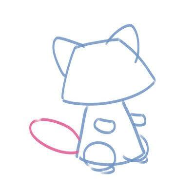 How to create a drawing or painting. Cute Kawaii Raccoon - Step 5