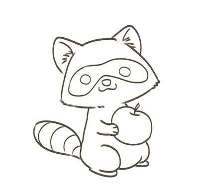 How to create a drawing or painting. Cute Kawaii Raccoon - Step 7
