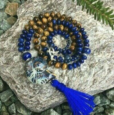 How to make a gemstone necklace. Lapis Lazuli & Tiger's Eye Tassel Necklace - Step 14