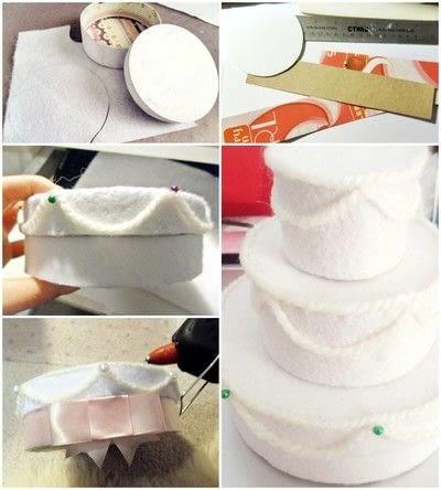 How to make a decoration. Felt Wedding Cake Gift Box - Step 1