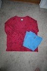 How to recycle a sweater into a dress. Upcycled Dress From Mom's Sweater And Kids Tee - Step 1