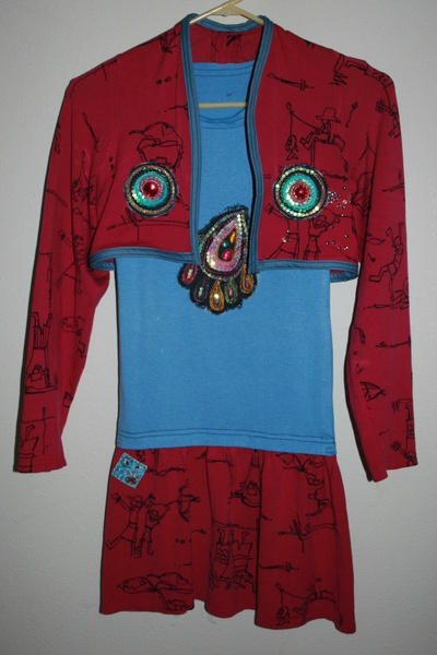 How to recycle a sweater into a dress. Upcycled Dress From Mom's Sweater And Kids Tee - Step 8