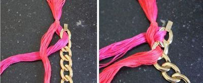 How to make a chain necklace. Diy Woven Chain Necklace - Step 5