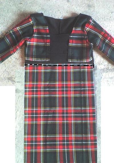 How to sew a hand sewn dress. Plaid Winter Dress - Step 4