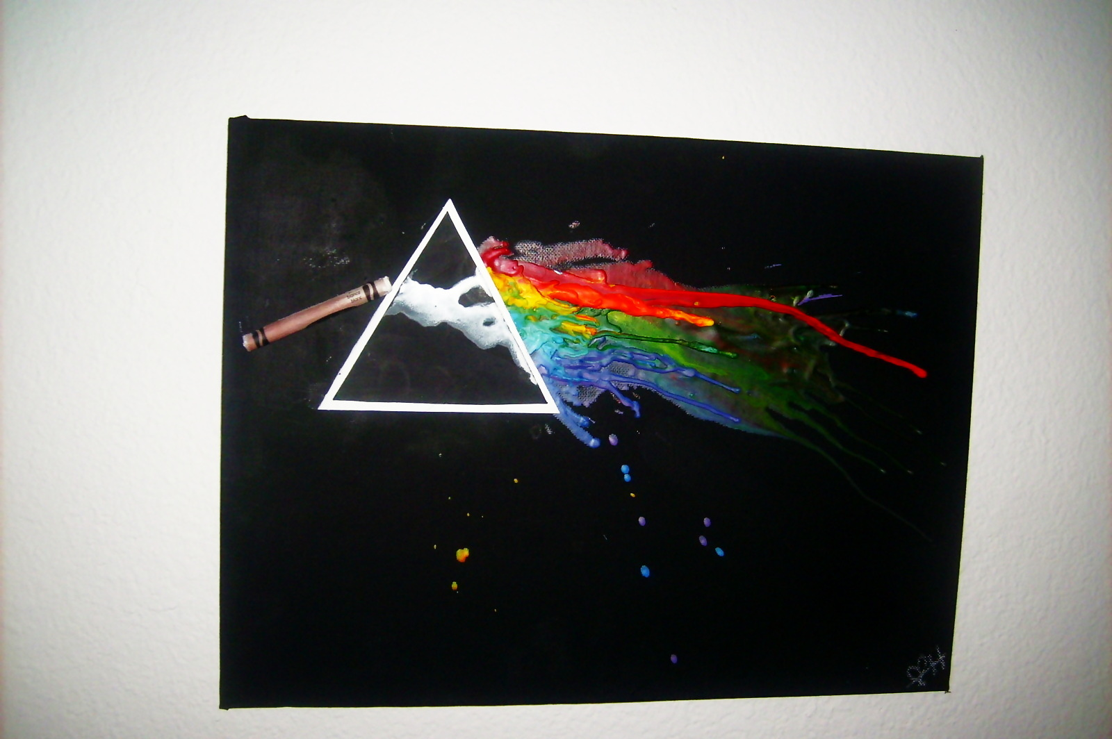 Pink Floyd Inspired Melted Crayon Art A Piece Of Melting And Decorating On Cut Out Keep With Canvas