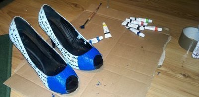How to paint a pair of painted shoes. 'Rainbow On My Feet' Stilettos - Step 3