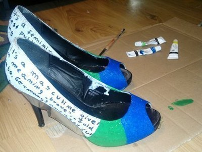 How to paint a pair of painted shoes. 'Rainbow On My Feet' Stilettos - Step 4