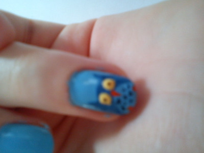 How to paint an animal nail. Owl Nails :) - Step 6