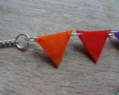 How to make a beaded pendant. Bunting Necklace (Fused Perler Beads) - Step 9