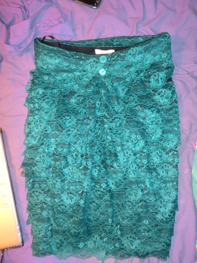 How to make a pencil skirt. Teal Lace Pencil Skirt - Step 3
