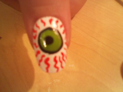 How to paint a themed nail manicure. Eyeball Nail Art - Step 6