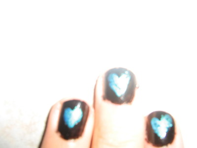 How to paint a heart nail manicure. Super Easy Broken Heart Nail Art!! - Step 2
