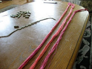 How to braid a necklace. Diy Embroidery Thread And Rhinestone Necklace - Step 2