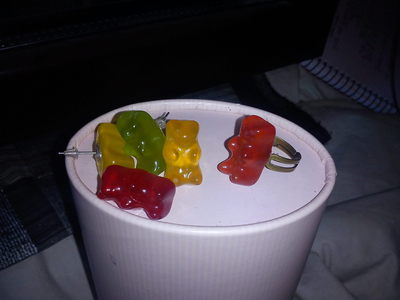 How to make a pair of candy earrings. Gummy Bear Ring And Earrings. - Step 5