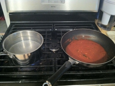 How to cook a hot pasta dish. Grandma's Amped Up Garlic Pasta - Step 4