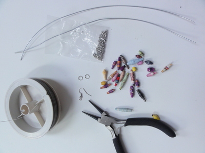 How to make a pair of woven bead earrings. Anthropologie Inspired Paper Bead Earrings - Step 1