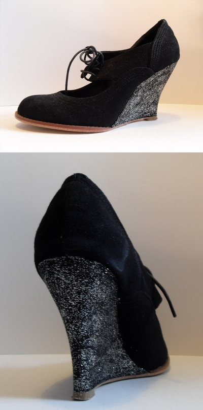 How to decorate a pair of glitter shoes. Sparkly Wedges - Step 2