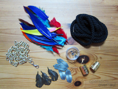 How to make a feather necklace. Feather & Rope Necklace - Step 1