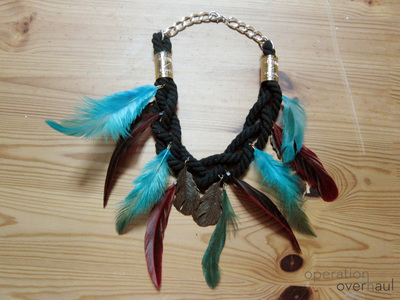 How to make a feather necklace. Feather & Rope Necklace - Step 14