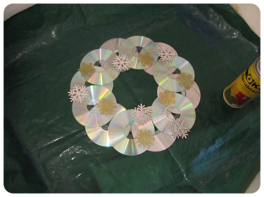How to make a recycled wreath. Cool Winterish Wreath Made Of Old C Ds - Step 7