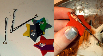 How to make a hair clip / barrette. Marc Jacobs Inspired Star Hair Clips - Step 8