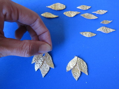 How to make a pair of leather earrings. Golden Leather Leaves Earrings - Step 2