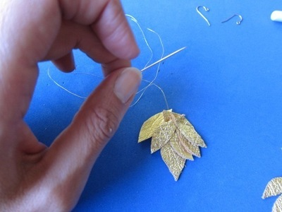 How to make a pair of leather earrings. Golden Leather Leaves Earrings - Step 3