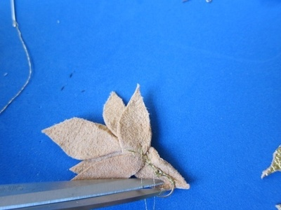 How to make a pair of leather earrings. Golden Leather Leaves Earrings - Step 7