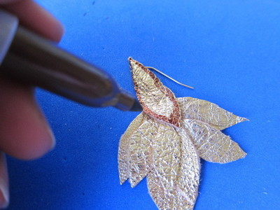How to make a pair of leather earrings. Golden Leather Leaves Earrings - Step 8