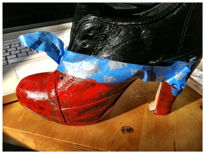 How to paint a pair of painted shoes. Diy Viktor & Rolf Red And Black Booties - Step 4