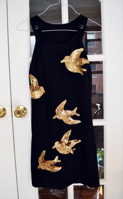 How to embellish a sequin dress. Diy Miu Miu Sequin Bird Dress - Step 4