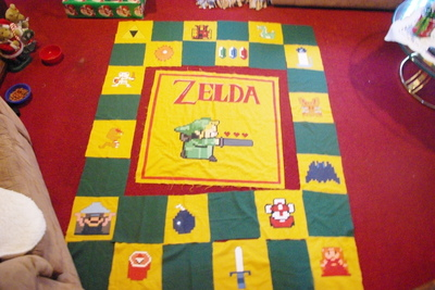 How to make a patchwork quilt. Hand Painted Zelda Themed Quilt - Step 3