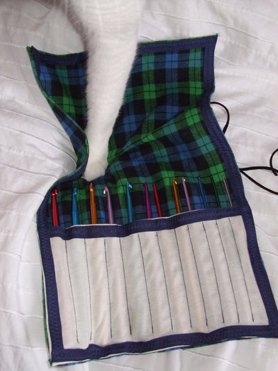 How to sew a roll-up pouch. Crochet Hook Case - Step 13