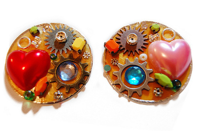 How to make a pair of hardware earrings. J'adore Junk Earrings - Step 1