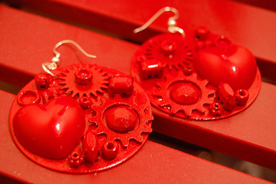How to make a pair of hardware earrings. J'adore Junk Earrings - Step 5
