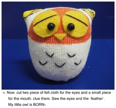 How to make a bird plushie. Owl Sock Doll - Step 11