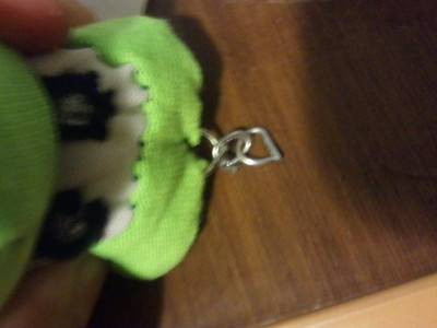 How to sew a fabric character charm. Yoshi Key Chain - Step 14