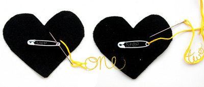 How to make a fabric brooch. Black Heart Brooch - Step 4