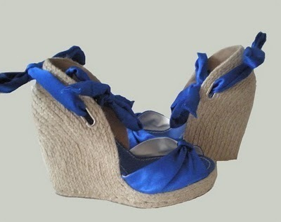How to paint a pair of painted shoes. Color Block Wedges - Step 1
