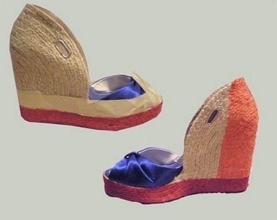 How to paint a pair of painted shoes. Color Block Wedges - Step 3